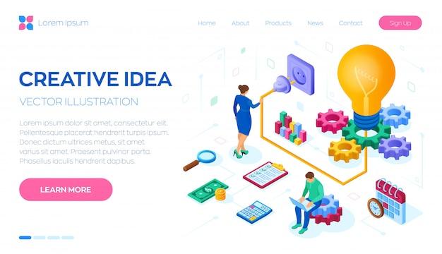 Idéia criativa isométrica. lâmpada com engrenagens. conceito de negócio para trabalho em equipe, cooperação, parceria.