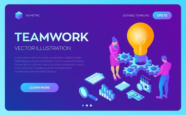 Ideia criativa . lâmpada com engrenagens. conceito de negócio para trabalho em equipe, cooperação, parceria.