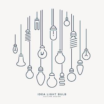 Idéia criativa lâmpada estilo de design mínimo infográfico contorno