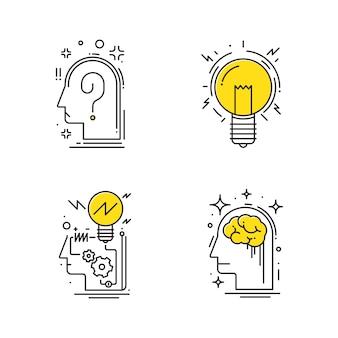 Ideia criativa. processo de ilustração de pensar