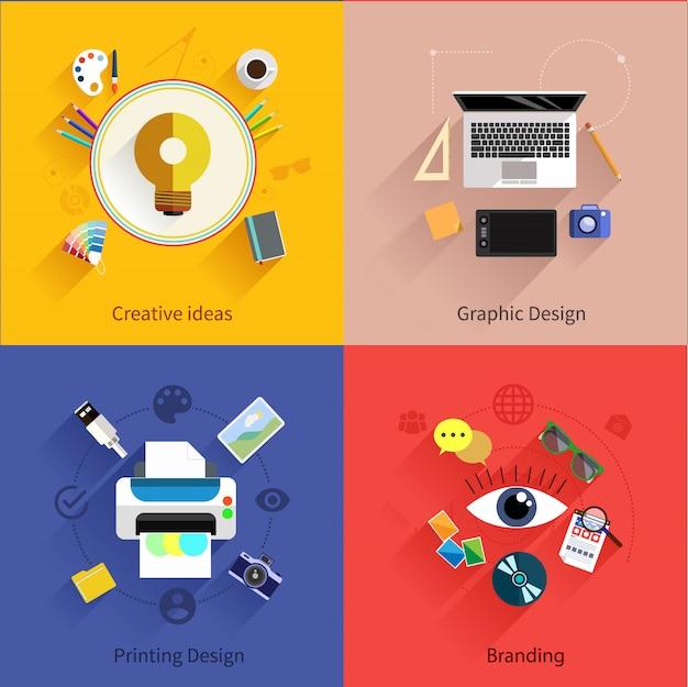 Ideia criativa, processo de impressão, design gráfico e branding