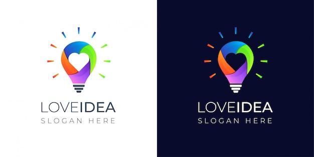 Ideia de amor colorida com design de logotipo de lâmpada