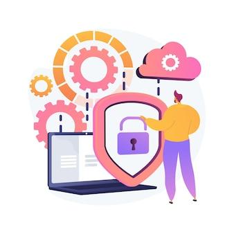 Ideia de armazenamento em nuvem. computação online. banco de dados da internet, servidor de backup. equipamento de programação. acesso limitado, passagem de controle, configurações de privacidade. ilustração vetorial de metáfora de conceito isolado