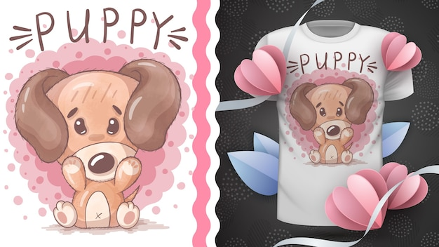 Ideia de cachorro em aquarela para camiseta impressa