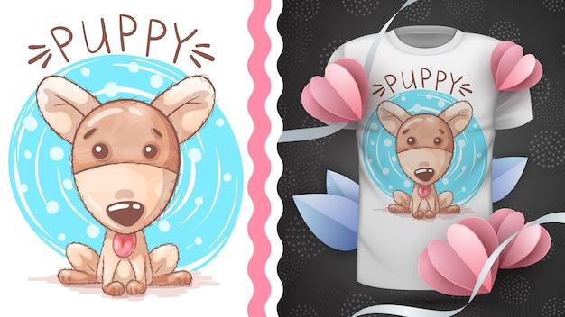 Ideia de cão em aquarela para impressão t-shirt