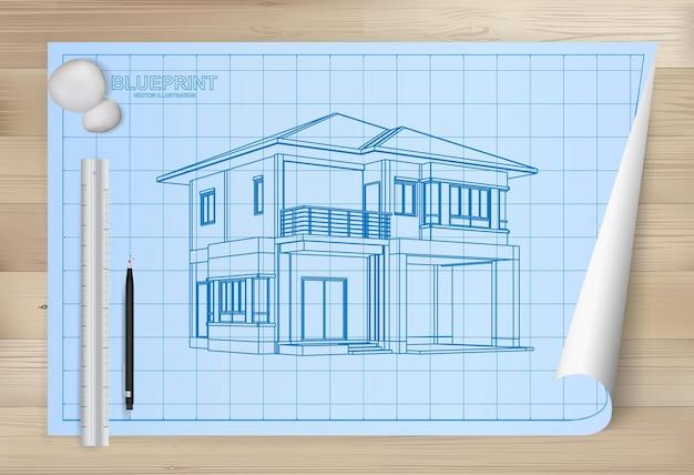 Idéia de casa em fundo de papel de planta. papel de desenho arquitetônico em fundo de textura de madeira. ilustração vetorial.