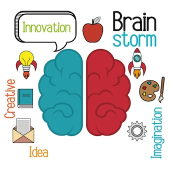 Idéia de cérebro dos desenhos animados criativo
