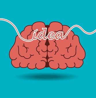 Ideia de cérebro dos desenhos animados design criativo isolado