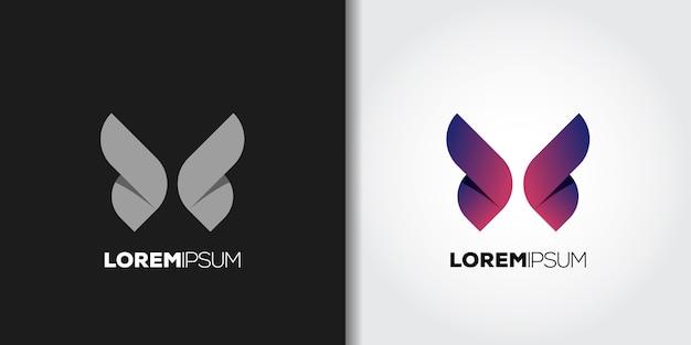 Idéia de conjunto de logotipo de asas roxas