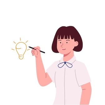 Ideia de desenho de menina fofinha ilustração de conceito