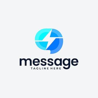 Ideia de design de logotipo colorido de bate-papo rápido