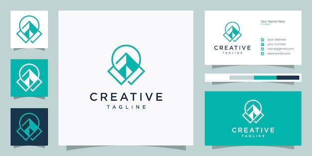 Ideia de design de logotipo de localização geométrica de pino