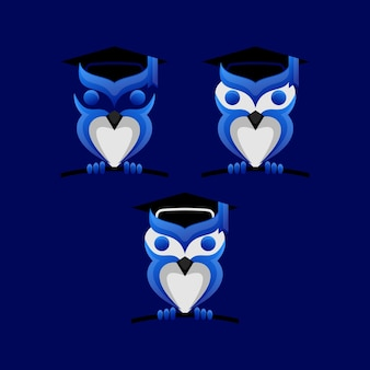 Ideia de design de logotipo de universidade de coruja