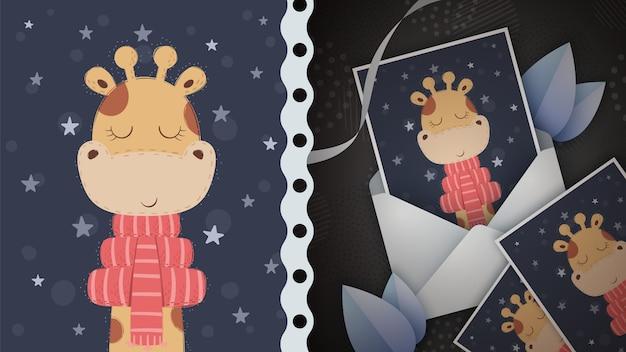 Ideia de girafa de inverno para cartão