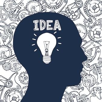 Idéia de homem de lâmpada