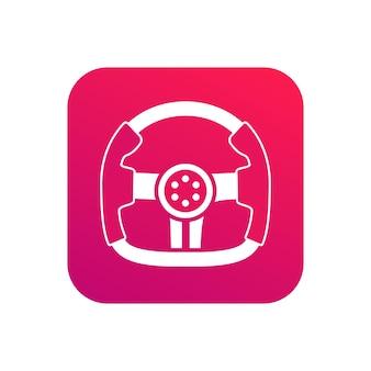 Ideia de ícone de app de ícone de escola de direção profissional com símbolo de volante de corrida na cor vermelha