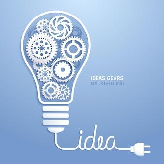 Ideia de lâmpada com fundo de engrenagens