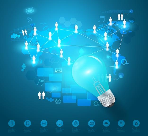 Idéia de lâmpada criativo com rede de negócios de tecnologia