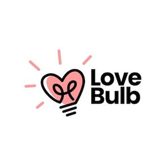 Ideia de lâmpada de lâmpada de amor logotipo inteligente de coração Vetor Premium