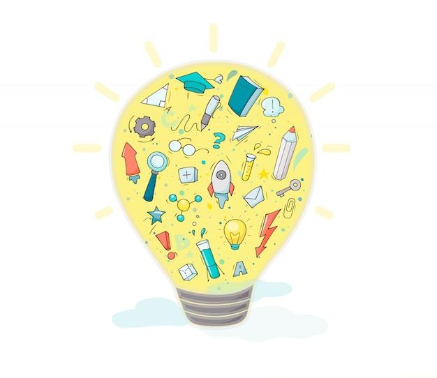 Idéia de lâmpada e muitos símbolos