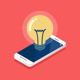 Idéia de lâmpada na tela do smartphone isométrica. ilustração vetorial