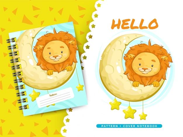 Idéia de leão bonito para o caderno de capa e padrão
