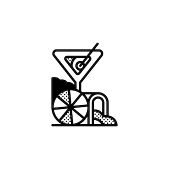 Idéia de logotipo de coquetel com elementos abstratos
