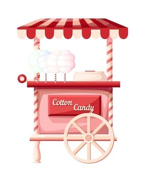 Ideia de loja portátil de carrinho de algodão doce rosa sobre rodas para ilustração de festival na página do site e no aplicativo móvel com fundo branco