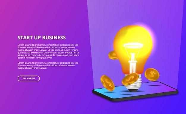 Idéia de luz de lâmpada 3d criativa para iniciar negócios e ilustração 3d de smartphone