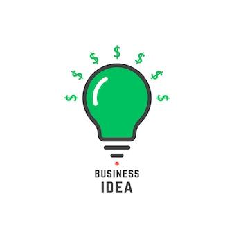 Ideia de negócio com lâmpada verde. conceito de investidor, pesquisa, moeda, empreendimento, desenvolvimento, doar, patrocinador. ilustração em vetor design de logotipo de empresa moderna tendência de estilo plano no fundo branco