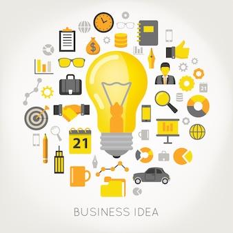 Ideia de negócio conceito lâmpada e conjunto de ícones criativos.