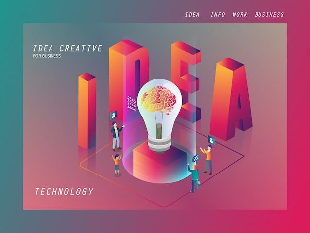 Ideia de negócio criativo para negócios isométrico