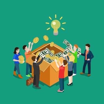 Ideia de negócio crowdfunding conceito voluntário plana 3d web