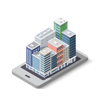 Ideia de negócio de conceito de telefone de cidade. arranha-céu isométrica 3d