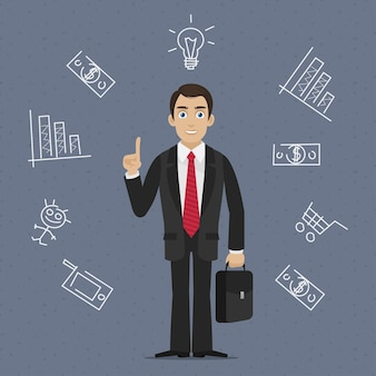 Ideia de negócio de empresário de ilustração, formato eps 10
