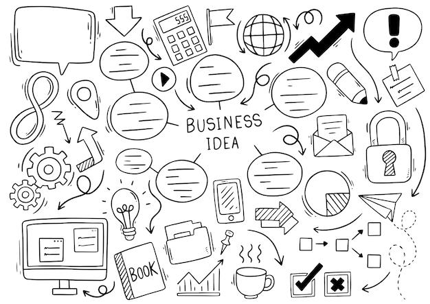 Ideia de negócio desenhado mão doodles em fundo branco