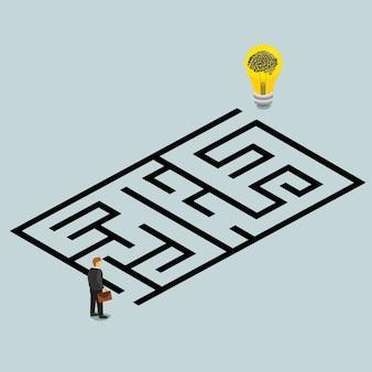 Ideia de negócio e solução em um conceito isométrico labirinto