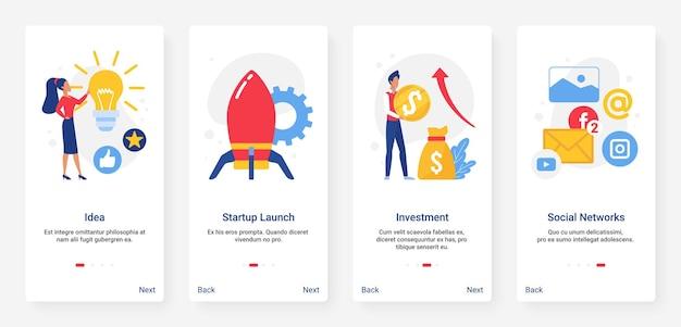 Ideia de negócio inicial, lançamento de foguete e investimento em lâmpada, conjunto de mídia social
