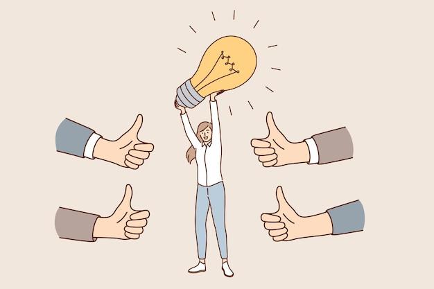 Ideia de negócio inovadora e conceito de aprovação