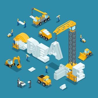 Ideia de negócio isométrica de construção 3d,