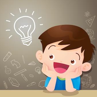 Idéia de pensamento de menino de crianças