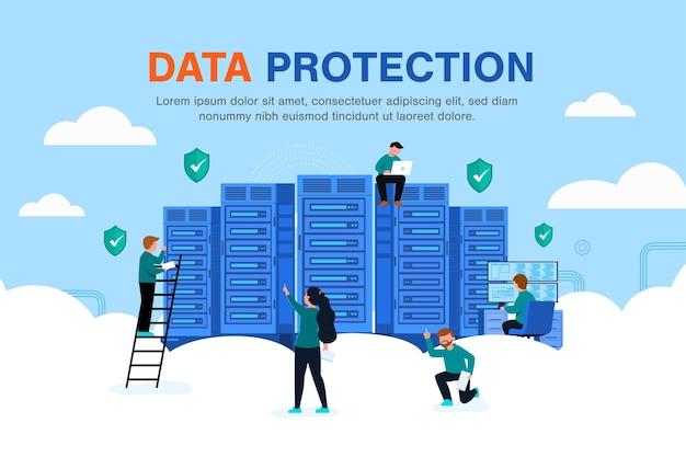 Ideia de privacidade e proteção de segurança, dados de acesso a software, segurança de dados cibernéticos abstratos on-line, segurança global de dados, segurança de dados pessoais, ilustração plana da internet isolada