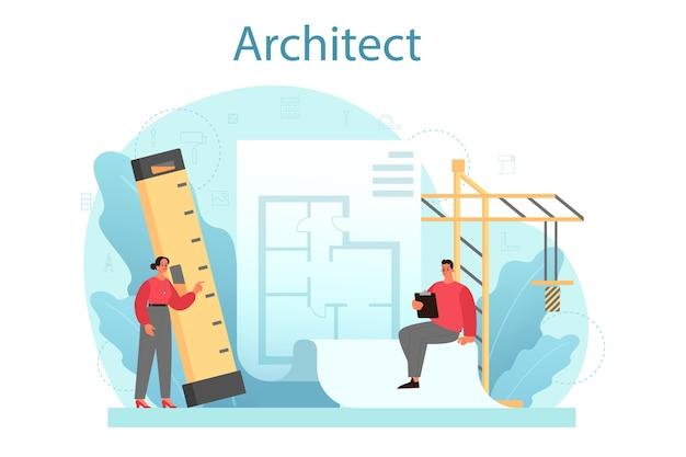 Ideia de projeto de construção e trabalho de construção