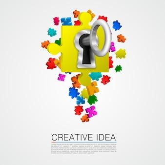Idéia de quebra-cabeça com arte chave. ilustração vetorial