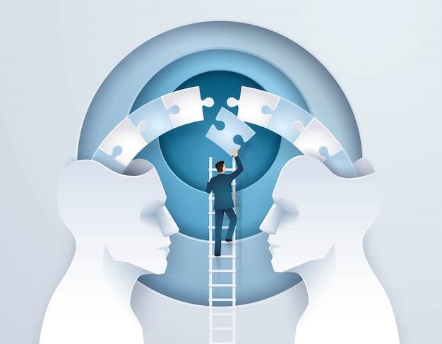 Idéia do conceito de negócio de brainstorming através de duas cabeças é melhor do que um
