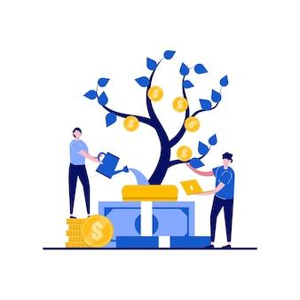 Idéia do conceito de renda com personagem regando planta de dinheiro