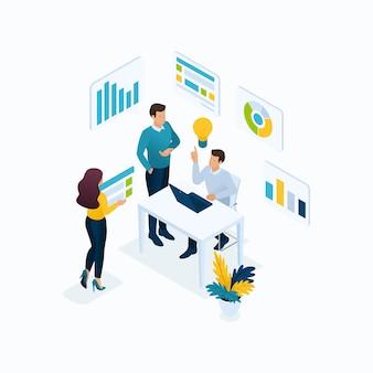 Idéia do conceito isométrico, brainstorming, trabalho em equipe, jovens empresários no escritório. conceitos de ilustração moderna para site