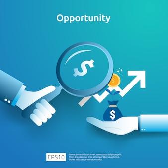 Ideia do negócio analítico e conceito de pesquisa de oportunidade com aumento gráfico gráfico de crescimento e lupa na mão. finanças desempenho do retorno sobre o investimento roi ilustração com elemento de seta