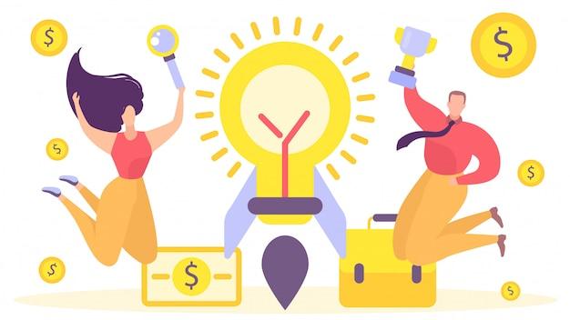 Ideia do trabalho de foguete do negócio, ilustração. conceito de bandeira de projeto de equipe, caráter de pessoas criativas fazer nova inicialização.