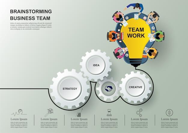 Idéia e conceito de negócio para trabalho em equipe